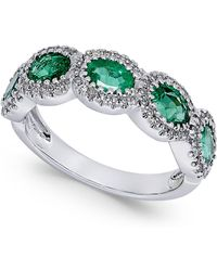 Macy's - Emerald (1-1/10 Ct. T.w.) And Diamond (1/5 Ct. T.w.) Ring In 14k White Gold - Lyst