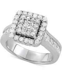 Macy's - Diamond Square Cluster Engagement Ring (2 Ct. T.w.) In 14k White Gold - Lyst