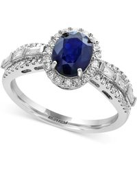 Effy Collection - Sapphire (1-3/8 Ct. T.w.) And Diamond (1/2 Ct. T.w.) Ring In 14k White Gold - Lyst
