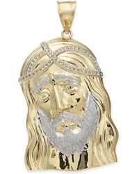 Macy's - Two-tone Christ Pendant In 14k Gold & White Gold - Lyst