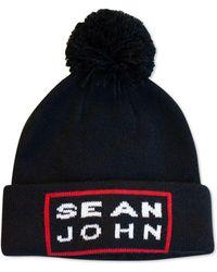 Sean John - Intarsia Logo Cuff Pom Beanie, Created For Macy's - Lyst