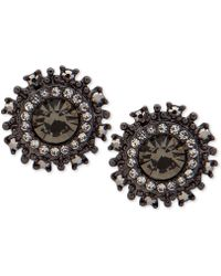 Marchesa - Hematite-tone Stone & Crystal Halo Button Stud Earrings - Lyst