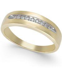 Macy's - Men's Diamond Band In 10k White Gold (1/10 Ct. T.w.) - Lyst
