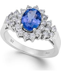 Macy's - Tanzanite (1-1/10 Ct. T.w.) And Diamond (5/8 Ct. T.w.) Ring In 14k White Gold - Lyst