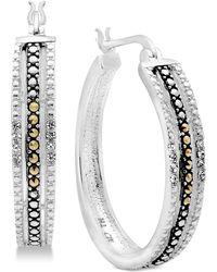 Macy's - Marcasite & Crystal Patterned Hoop Earrings In Fine Silver-plate - Lyst