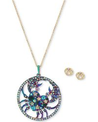 "Betsey Johnson - Two-tone Multi-stone Cancer Zodiac Pendant Necklace & Stud Earrings Set, 21-1/2"" + 3"" Extender - Lyst"