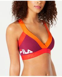 Fila - Colorblocked Low-impact Strappy-back Sports Bra - Lyst