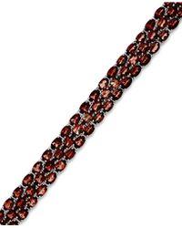 Macy's | Garnet Three-row Bracelet In Sterling Silver (25 Ct. T.w.) | Lyst