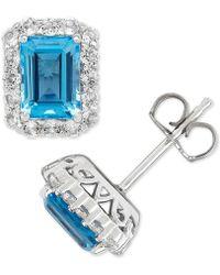 Macy's - Blue Topaz (2-1/3 Ct. T.w.) & White Topaz (3/4 Ct. T.w.) Stud Earrings In Sterling Silver - Lyst