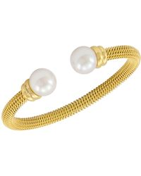 Majorica - Bracelet, Organic Man Made Pearl And Gold-tone Stainless Steel Bangle Bracelet - Lyst