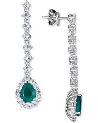 Macy's - Emerald (4 Ct. T.w.) And White Topaz (4 Ct. T.w.) Drop Earrings, Set In Sterling Silver - Lyst