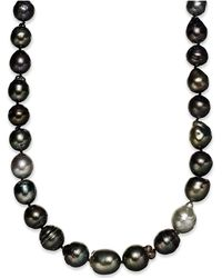 Macy's - Pearl Necklace, Sterling Silver Multicolor Cultured Tahitian Pearl Baroque Strand Necklace (9-11mm) - Lyst