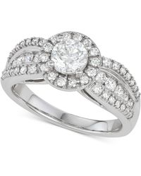 Macy's - Diamond Halo Engagement Ring (1-1/2 Ct. T.w.) In 14k White Gold - Lyst