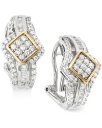 Wrapped in Love - Diamond J-hoop Earrings (1 Ct. T.w.) In 14k Gold And Sterling Silver - Lyst