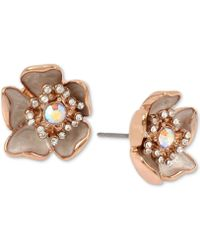 Betsey Johnson - Rose Gold-tone Crystal & Stone Flower Stud Earrings - Lyst