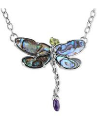 """Carolyn Pollack - Multi-stone (8-5/8 Ct. T.w.) Dragonfly 19"""" Pendant Necklace In Sterling Silver - Lyst"""