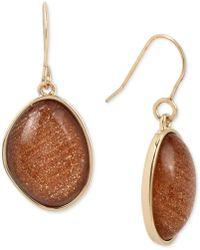 Kenneth Cole - Gold-tone Stone Drop Earrings - Lyst