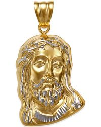 Macy's - Men's Christ Head Pendant In 14k Gold And White Gold - Lyst
