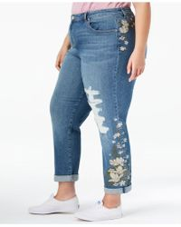 Style & Co. - Plus Size Embroidered Distressed Boyfriend Ankle Jeans, Created For Macy's - Lyst