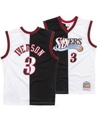 245b87850b7a Mitchell   Ness - Allen Iverson Philadelphia 76ers Split Swingman Jersey -  Lyst