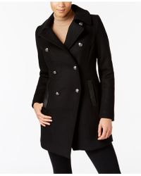 Trina Turk - Leather-trim Textured Peacoat - Lyst