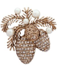 Anne Klein - Gold-tone Pavé & Imitation Pearl Pine Cone Pin, Created For Macy's - Lyst