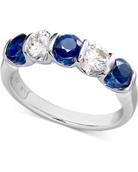 Macy's - Sterling Silver Ring, Blue And White Sapphire Channel Set Ring (1-3/4 Ct. T.w.) - Lyst
