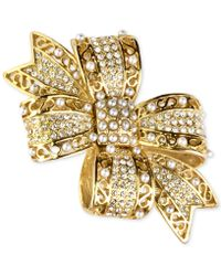 Charter Club - Gold-tone Pavé Bow Brooch - Lyst