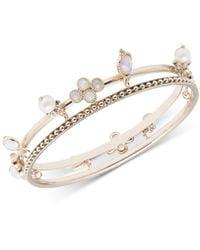 Marchesa - Gold-tone Imitation Pearl & Stone Charm Two-row Bangle Bracelet - Lyst