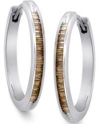 Macy's - Sterling Silver Earrings, Champagne Diamond Baguette Hoop Earrings (1/4 Ct. T.w.) - Lyst