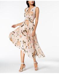 Calvin Klein - Printed Chiffon Faux-wrap Dress, Regular & Petite Sizes - Lyst