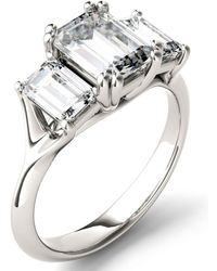 Charles & Colvard - Moissanite Emerald Three Stone Ring (2-9/10 Ct. Tw.) In 14k White Gold - Lyst