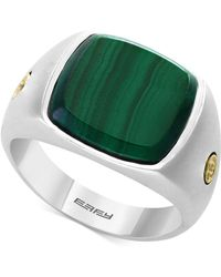 Effy Collection - Men's Malachite (15mm) Ring In Sterling Silver & 18k Gold - Lyst