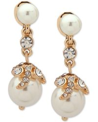 Anne Klein - Gold-tone Crystal & Imitation Pearl E-z Comfort Clip-on Drop Earrings - Lyst