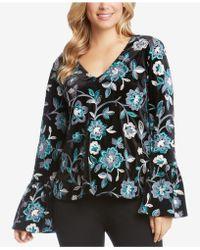 Karen Kane - Floral Embroidered Velvet Bell Sleeve Top - Lyst