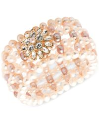 Carolee - Gold-tone Crystal & Pink Imitation Pearl Flower Woven Stretch Bracelet - Lyst