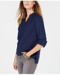 Style & Co. - Petite Cotton Textured Roll-tab Top, Created For Macy's - Lyst