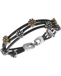 Lucky Brand - Bracelet, Two Tone Flower Woven Leather Bracelet - Lyst