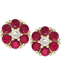 Macy's - Ruby (1-1/5 Ct. T.w.) And White Sapphire (1/6 Ct. T.w.) Flower Stud Earrings In 14k Gold - Lyst