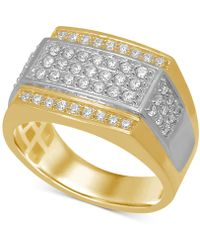 Macy's - Diamond Panel Ring (1 Ct. T.w.) In Two-tone 10k Gold - Lyst