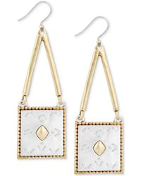 Lucky Brand - Two-tone Patterned Square Drop Earrings - Lyst