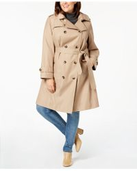 London Fog - Plus Size Double-breasted Hooded Trench Coat - Lyst