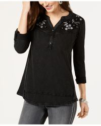 Style & Co. - Petites Split-neck Embroidered Top - Lyst