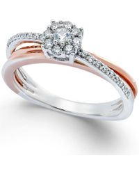 Macy's - Diamond Crossover Promise Ring (1/4 Ct. T.w.) In Sterling Silver And 14k Rose Gold - Lyst