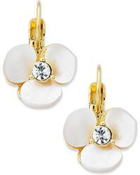 Kate Spade - Earrings, Gold-tone Cream Disco Pansy Flower Leverback Earrings - Lyst