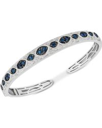 Macy's - Sapphire (1-3/4 Ct. T.w.) & Diamond (1/6 Ct. T.w.) Bangle Bracelet In Sterling Silver - Lyst