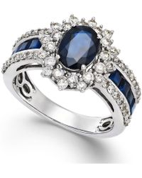 Macy's - Sapphire (2-1/5 Ct. T.w.) And Diamond (3/4 Ct. T.w.) Ring In 14k White Gold (also Available In Emerald & Ruby) - Lyst