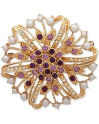 Anne Klein - Gold-tone Multi-stone & Imitation Pearl Flower Pin, Created For Macy's - Lyst