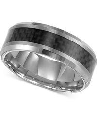 Triton - Men's Tungsten Carbide Ring, Black Carbon Fiber Stripe Wedding Band - Lyst