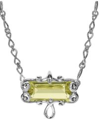 Carolyn Pollack Lemon Quartz Faceted Rectangle Necklace In Sterling Silver - Yellow